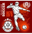 Soccer player kicking ball and football emblems vector image vector image