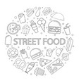 street food background from line icon vector image vector image