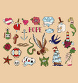 tattoo icons set vector image vector image