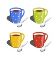 Tea cup and spoon Set of vector image