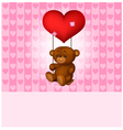 Toy teddy bear swinging on the balloon-heart vector image