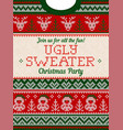 ugly sweater christmas party invite knitted vector image