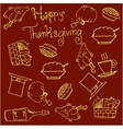 Vegetables and food thanksgiving doodles vector image