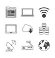 white background with monochrome icons of network vector image vector image