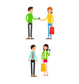 woman and man with shopping bags and credit card vector image vector image