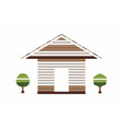 wooden house with small tree on white background vector image