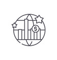 world economic growth line icon concept world vector image