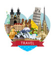 worldwide travel banner with famous attractions vector image