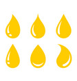yellow oil honey drop icons set icons vector image