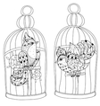 Zentangle stylized bird in cage Hand Drawn vector image
