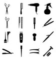 set of icons of hairdresser tools vector image