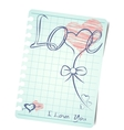 Template of a love card background with blank note vector image