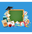 Back to school blue background vector image vector image