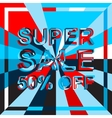 Big ice sale poster with SUPER SALE 50 PERCENT OFF vector image vector image