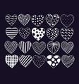 big set of hand drawn hearts valentine vector image vector image