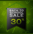 black pennant with back to school sale thirty vector image vector image