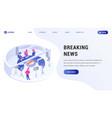 breaking news landing web page vector image vector image