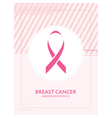 Breast cancer awareness card Pink ribbon campaign vector image vector image