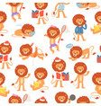 cartoon lions seamless pattern vector image