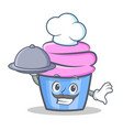 chef cupcake character cartoon style with food vector image vector image