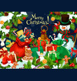 christmas gift and snowman greeting card design vector image vector image