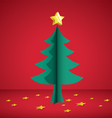 christmas tree paper cutting vector image vector image