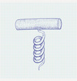 cork screw hand drawn sketch vector image