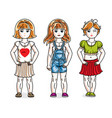 cute happy little girls posing in stylish casual vector image vector image