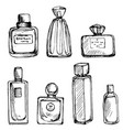 drawing perfume bottles vector image