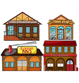 English pub Korean restaurant pawnshop and fire vector image vector image