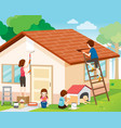 father mother son and daughter repairing home vector image vector image