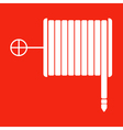 fire hose reel sign on a red background vector image vector image