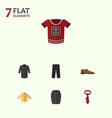 flat icon dress set of male footware pants vector image vector image