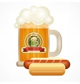 Glass mug of beer sausage vector image vector image