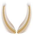 Gold wheat laurel vector image