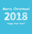 happy new year 2018 with snowflake and bokeh vector image