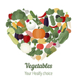 Heart with different vegetables icons vector image vector image