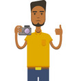image of africo american man with camera vector image vector image