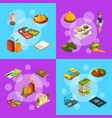 isometric hotel icons infographic concept vector image