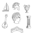 Italian culture history and travel icons vector image vector image