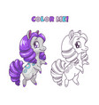 little cute horse for coloring book vector image vector image