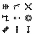 Machinery gear icon set simple style vector image