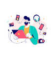 male character surrounded with gadgets flat design vector image