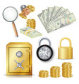 money secure concept gold metal coins vector image vector image