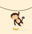 monkey climbing on the vine vector image