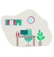 office furniture in flat style vector image vector image