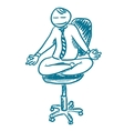 Office worker resting in lotus pose sketch vector image vector image