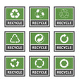 recycling label set recycled cycle arrows icons vector image vector image