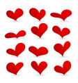 red heart collection icon set love symbol vector image