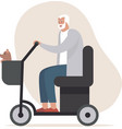 senior man driving electric mobility scoot vector image